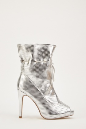 Metallic Peep Toe Heeled Boots