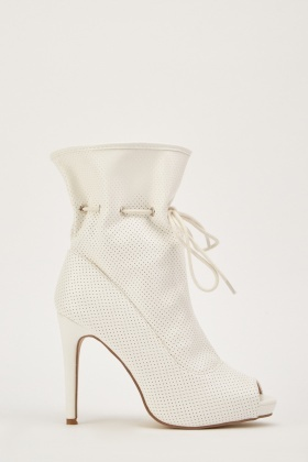 Peep Toe Perforated Boots
