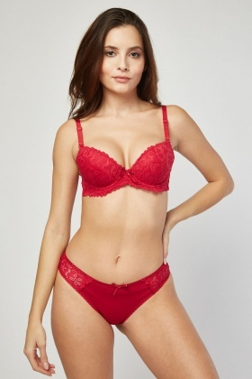 Push Up Lace Bra And Brief Set