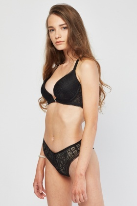Triangle Back Lace Bra And Brief Set