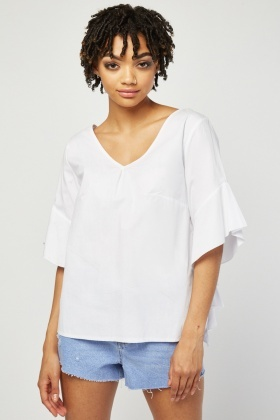 Asymmetric Ruffle Sleeve Blouse