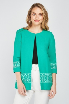 Aztec Embroidered Textured Jacket
