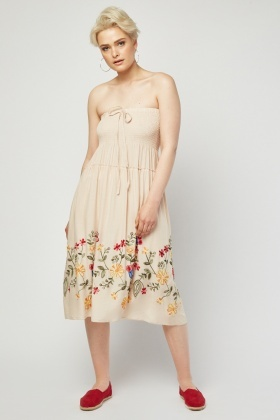 Embroidered Gathered Panel Dress