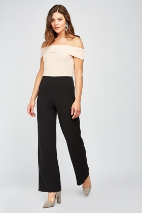 Off Shoulder Two Tone Jumpsuit