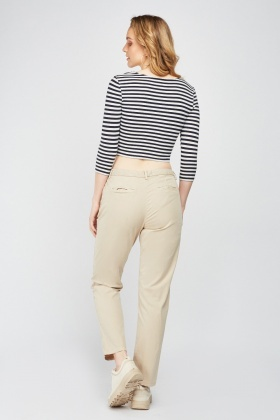 Plain Straight Fit Chino Trousers