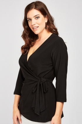Tie Up Low Plunge Wrap Top