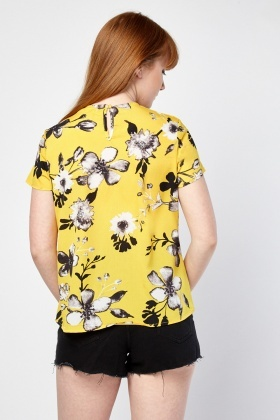 Twisted Front Floral Print Top