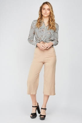 Wide Leg Crop Rib Trousers