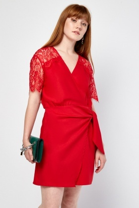 Lace Trim Wrap Dress