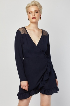 Mesh Back Ruffle Wrap Dress