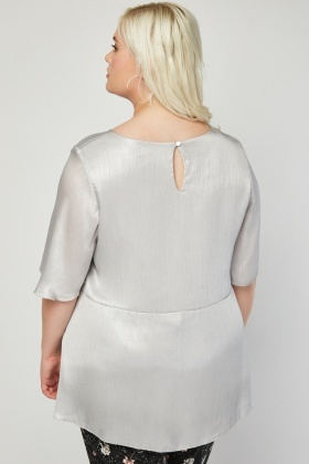 Metallic Silver Textured Top