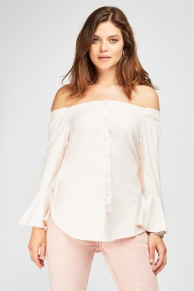 Off Shoulder Flared Sleeve Blouse
