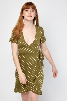 Polka Dot Mini Wrap Dress