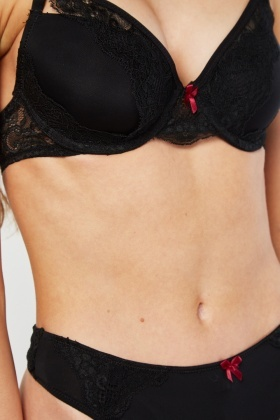 Soft Cup Lace Bra And Thong Set