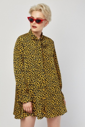 Tie Up Leopard Print Tunic Dress