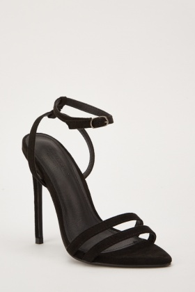 Ankle Strap Court Style Heeled Sandals