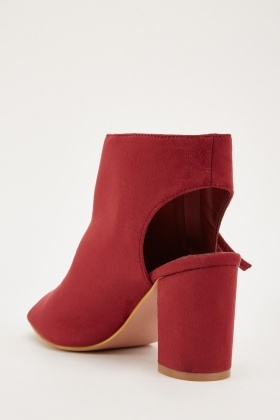 Cut Out Suedette Heeled Shoes