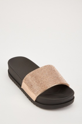 Encrusted Front Wedged Sliders