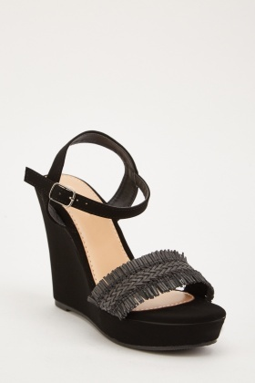 Fringed Suedette Wedge Sandals