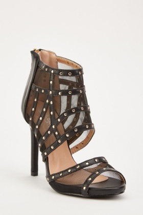 Mesh Insert Studded Heeled Sandals