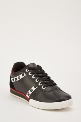 Studded Trim Contrast Low Top Trainers