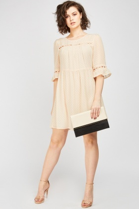 Dotted Sheer Smock Dress