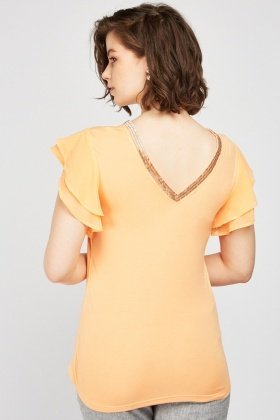 Embellished Neck Ruffle Sleeve Top