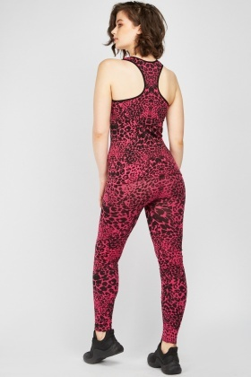 Leopard Print Sports Tank Top And Leggings Set