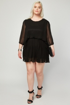 Pleated Underlay Chiffon Dress