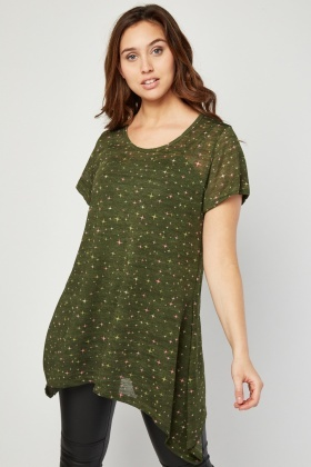 Sheer Star Print Asymmetric Top