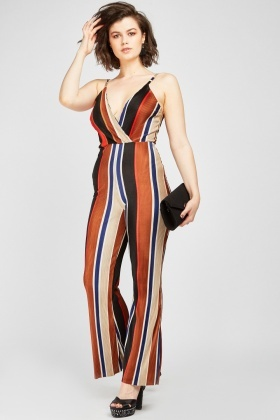 Striped Plisse Wrap Jumpsuit