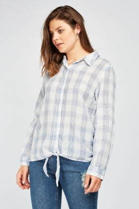 Tie Up Checked Shirt