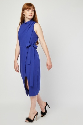 Tie Up Midi Slit Dress