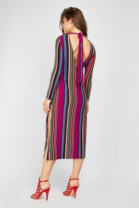 Tie Up Open Back Midi Stripe Dress