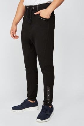 Button Trim Harem Joggers