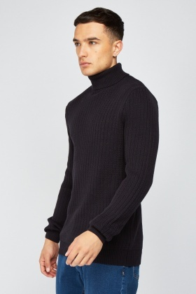 Casual Roll Neck Knit Jumper