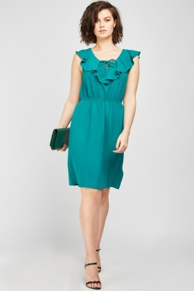 Lace Up Ruffle Trim Dress