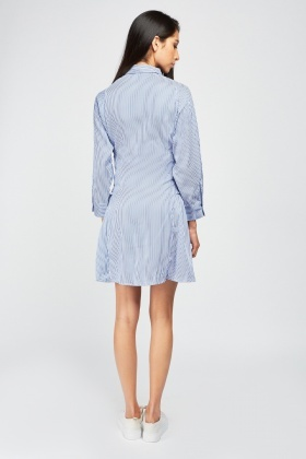 Lace Up Side Stripe Shirt Dress