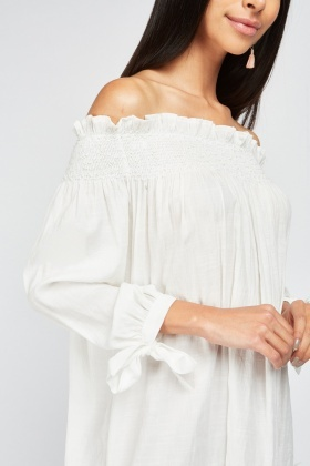 Laser Cut Crochet Hem Blouse