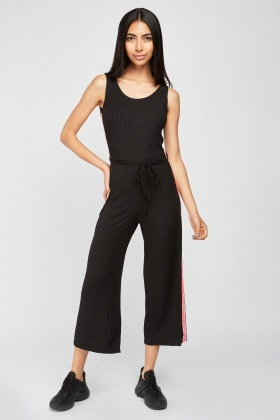 Stripe Side Ribbed Jumpsuit