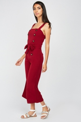 Button Trim Belted Jumpsuit