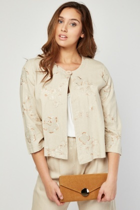 Embroidered Flower Stitched Jacket