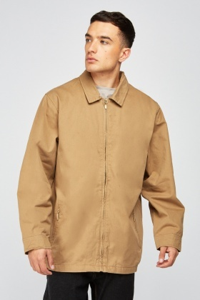 Zip Up Tan Collared Jacket