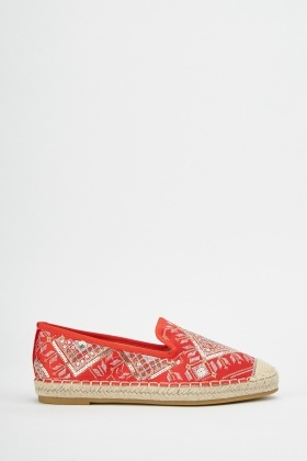 Ethnic Embroidered Flat Espadrilles