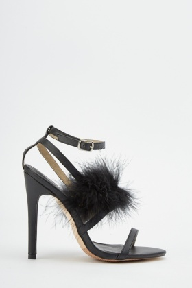 Feather Trim Strappy Sandals