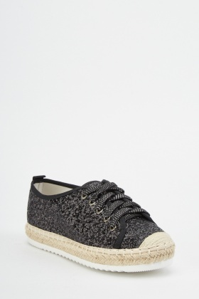 Glittered Lace Up Espadrilles