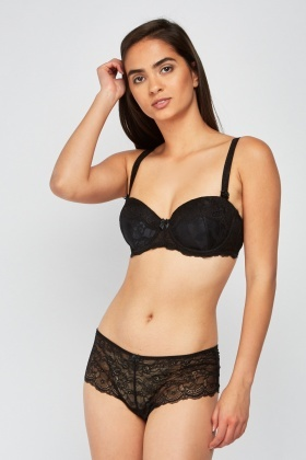 Lace Insert Bra And Brief Set
