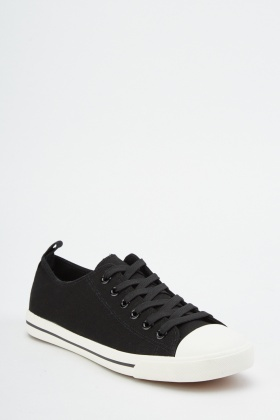 Mens Lace Up Textured Plimsolls
