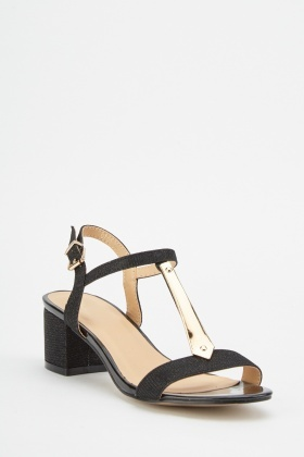 Plated T-Strap Sandals