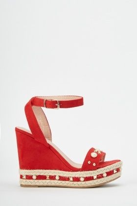 Studded Espadrille Wedge Heels